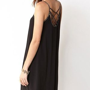 Black Swing Dress with Gold Beading Crossover Back